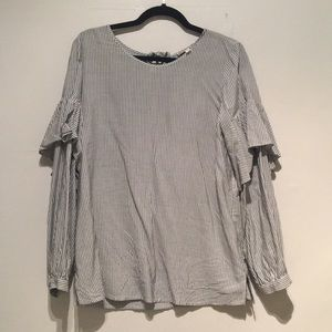 Grey Pinstriped Blouse with Sleeve Ruffles